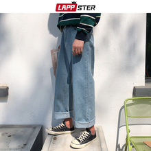LAPPSTER גברים Harajuku הרמון ג ינס מכנסיים 2020 Mens Streetwear Hiphop ג ינס רחב רגל מכנסיים זכר בציר רופף צבעוני מכנסיים XL