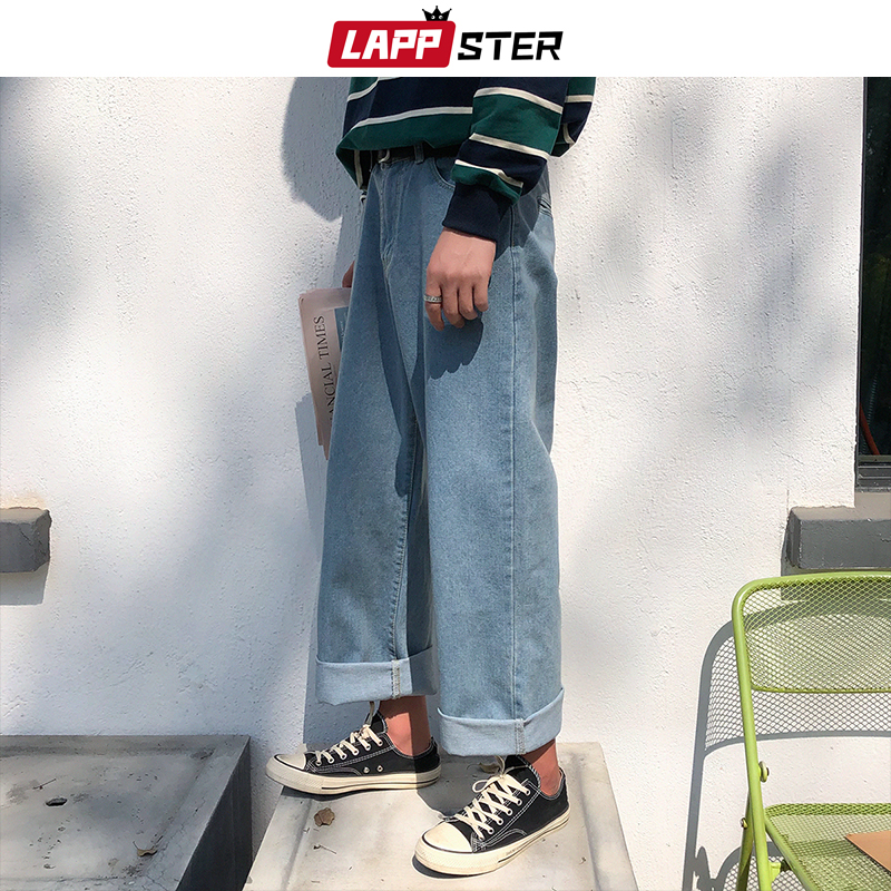 LAPPSTER Men Harajuku Harem   Jeans   Pants 2019 Mens Streetwear Hiphop Denim Wide Leg Pants Male Vintage Loose Colorful Pants XL