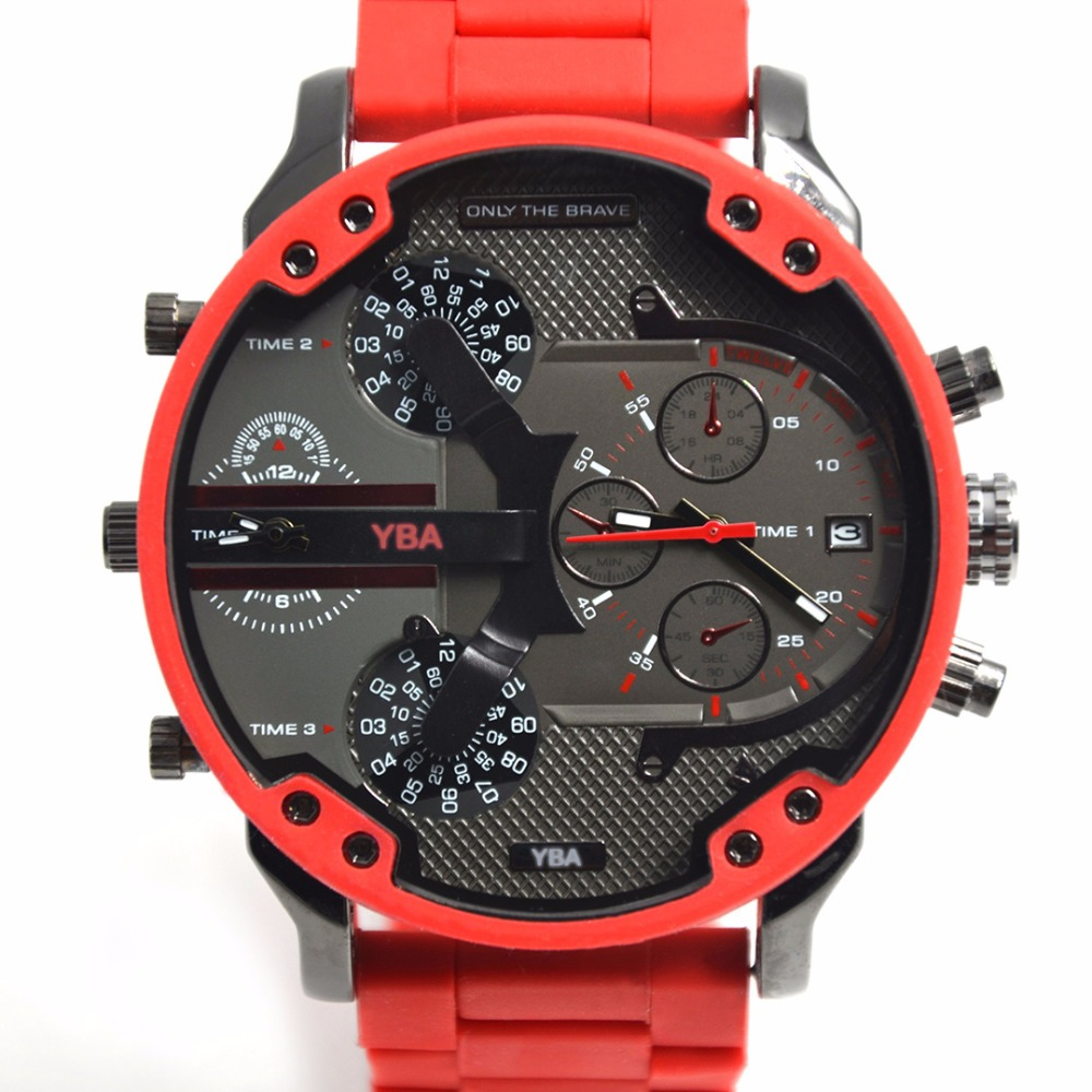 Men Watches 57mm Super Big Dial Watch Red Silicone Military Clock Army Quartz Brand Luxury dz Stainless Steel Relogio Masculino reef tiger brand men s luxury swiss sport watches silicone quartz super grand chronograph super bright watch relogio masculino