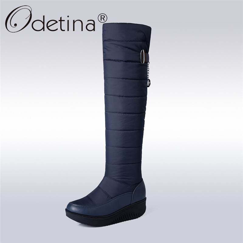 купить Odetina New Womens Knee High Snow Boots Waterproof Thick Fur Down Warm Winter Boots Platform Non-slip Casual Shoes Big Size 44 дешево