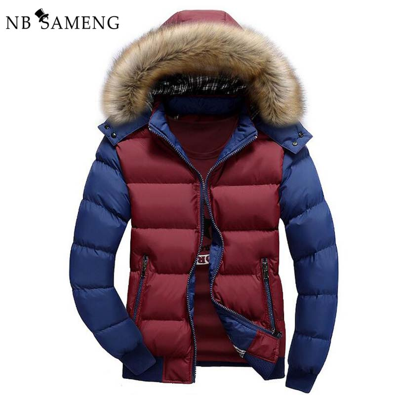 2016 New Fashion Winter Warm Jacket Men Brand Clothing Parka Jackets Faux Fur Hood Down Coat NSWT172