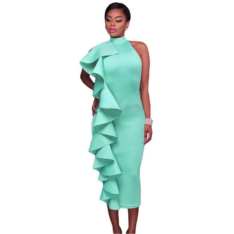 ADEWEL 2017 Women Big Ruffles Midi Elegant Dress Sexy Open Back Bodycon Party Dress High Neck Vintage Pencil Dress 9