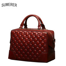 SUWERER 2019 New Women Genuine Leather bags luxury handbags women designer leather
