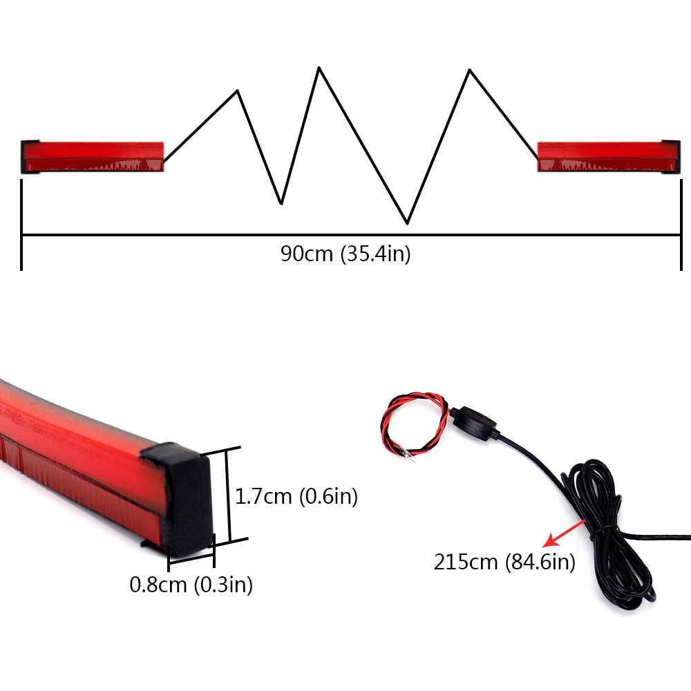 medium resolution of  90cm flexible red car third brake light led light rear tail high mount stop lamp 12v