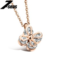 Romantic Bow Knot Flower Pendant Necklace For Women Luxury CZ Rose Gold Plated Butterfly Choker Women