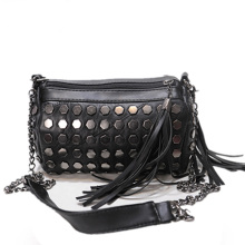 Tassel Chain Bag 2016 New Ladies Edgy Rivet-studded Shoulder Bag Women Black PU Leather Fashion Barrel-shaped Crossbody Bag