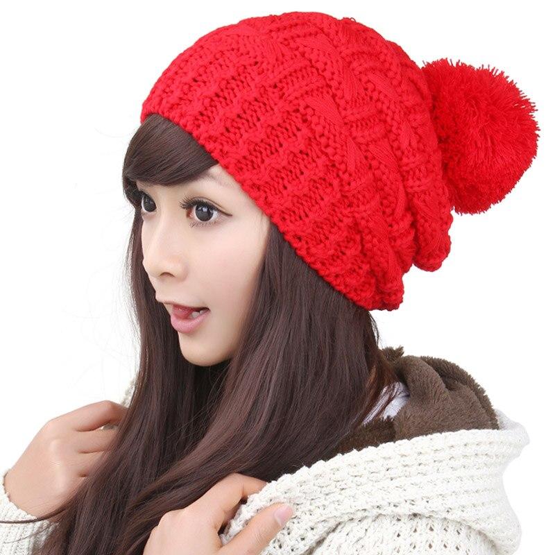 ᐂBomhcs 6 colores simple linda mujer sombrero hecho punto invierno ...