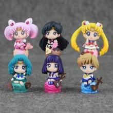 Figura de acción de Sailor Moon para niños, máscara de esmoquin de Tsukino, figura de Venus coleccionable, 6 unids/lote