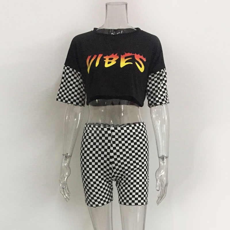 섹시한 편지 자르기 탑 격자 무늬 bodycon 짧은 2 조각 세트 여름 여성 의류 tracksuit 여성 양복 세트 dg018에 대한 두 조각 복장