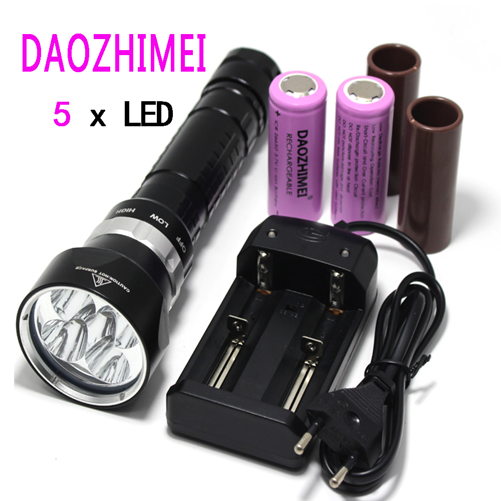 waterproof underwater diver diving 5 x XM-L2 LED T6 flashlight torch light 18650 26650 rechargeable defense camping outdoor lamp 100m underwater diving flashlight led scuba flashlights light torch diver cree xm l2 use 18650 or 26650 rechargeable batteries