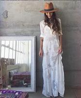 JOYINPARTY 2017 Women BOHO cut side white chiffon maxi dress new Spring Summer lapel long sleeved dress beach long blouse shirt