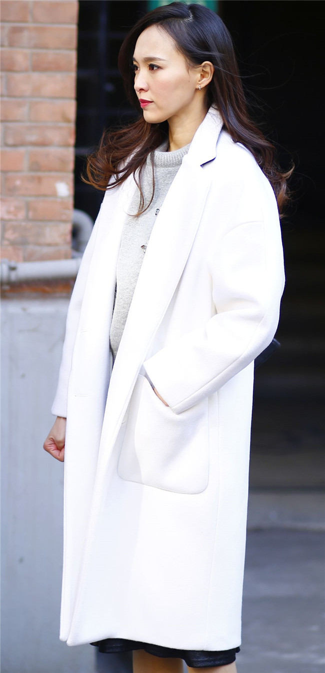 Manteau Femme UK New 2019 Spring Autumn Women Simple Notched Lapel Woolen White Long Coat Female Outerwear Abrigos Mujer