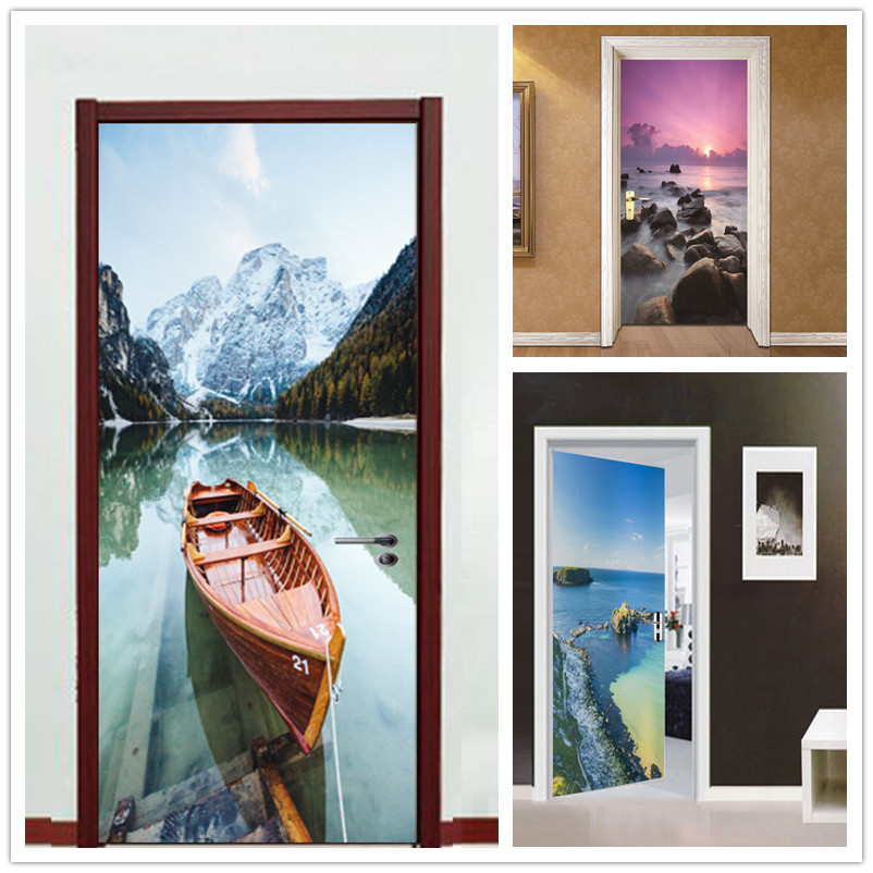 2pcs 77*200cm Sea beach with Glue Self Adhesive Wallpaper PVC 3D Wall Sticker Brick Waterproof Wall Paper For Door Sticker Cover