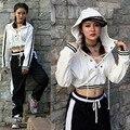 2017 Nova moda Casual Solto Hoodies DJ traje sexy top bandage Listrado camisolas rua jazz dança hip hop outwear