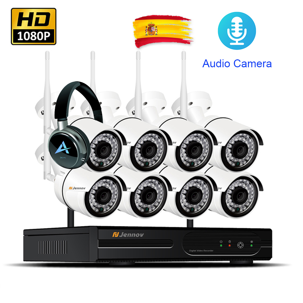 8CH Outdoor Video Surveillance Kit Wifi Home Security Wireless Camera CCTV System 1080P HD IP Camera Audio System NVR Wifi