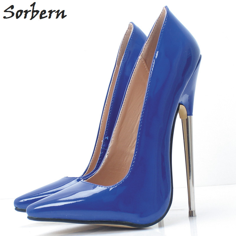 Sorbern 18Cm Metal Thin High Heels Pointed Toe Slip On Shoes Women Unisex Gay Dance Pumps Women Shoes Stilettos Patent LeatherSorbern 18Cm Metal Thin High Heels Pointed Toe Slip On Shoes Women Unisex Gay Dance Pumps Women Shoes Stilettos Patent Leather