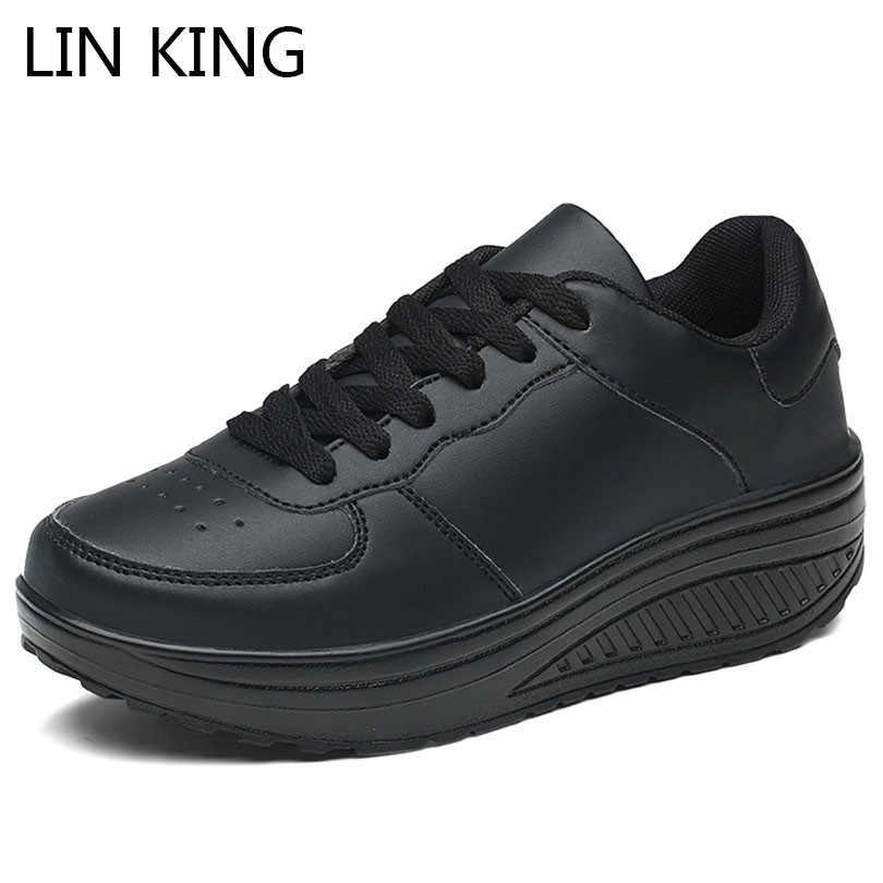 Król lin wiosna jesień kliny damskie na co dzień wzrost buty duże rozmiary kobiety zasznurować platformy huśtawka buty Chaussure Femme