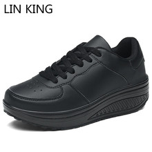 Купить с кэшбэком LIN KING Spring Autumn Wedges Ladies Casual Height Increase Shoes Big Size Women Lace Up Platform Swing Shoes Chaussure Femme