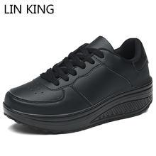 Lin king/женская повседневная обувь на танкетке увеличивающая