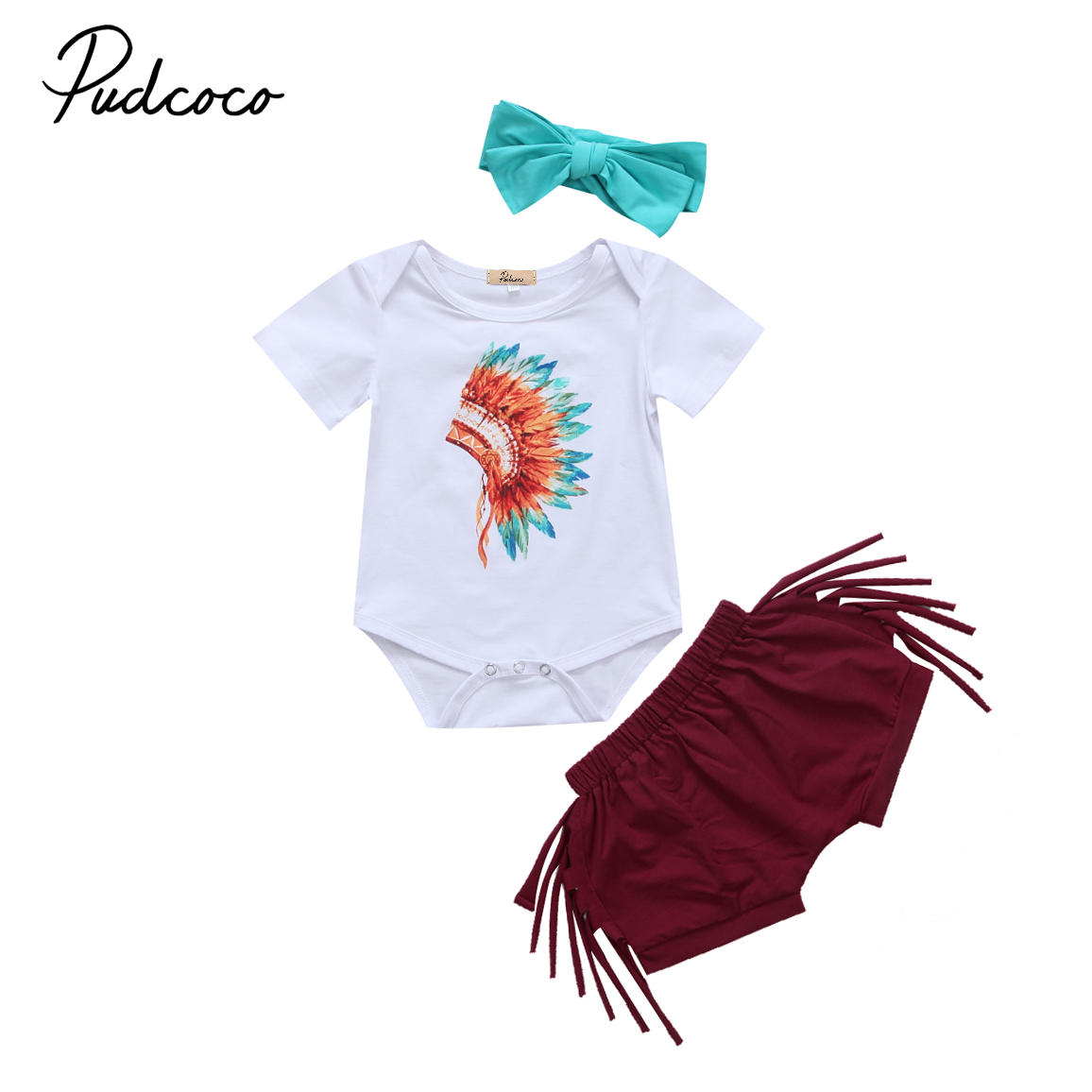 2017 Brand New Newborn Toddler Infant Baby Girls Feather Tassels Outfits Short Sleeve Romper Bottoms Headband Tribal Style 3pcs baby girl 1st birthday outfits short sleeve infant clothing sets lace romper dress headband shoe toddler tutu set baby s clothes