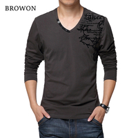 BROWON 2017 Autumn Men S Long Sleeved T Shirt Fashion Cotton Fabric Patchwork Flower Print T
