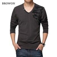 BROWON 2017 Autumn Men S Long Sleeved T Shirt Fashion Cotton Fabric Patchwork Flower Print T