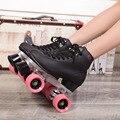Reniaever patines doble línea patines negros para hombre modelos adultos carreras de F1 4 ruedas línea patinaje zapatos