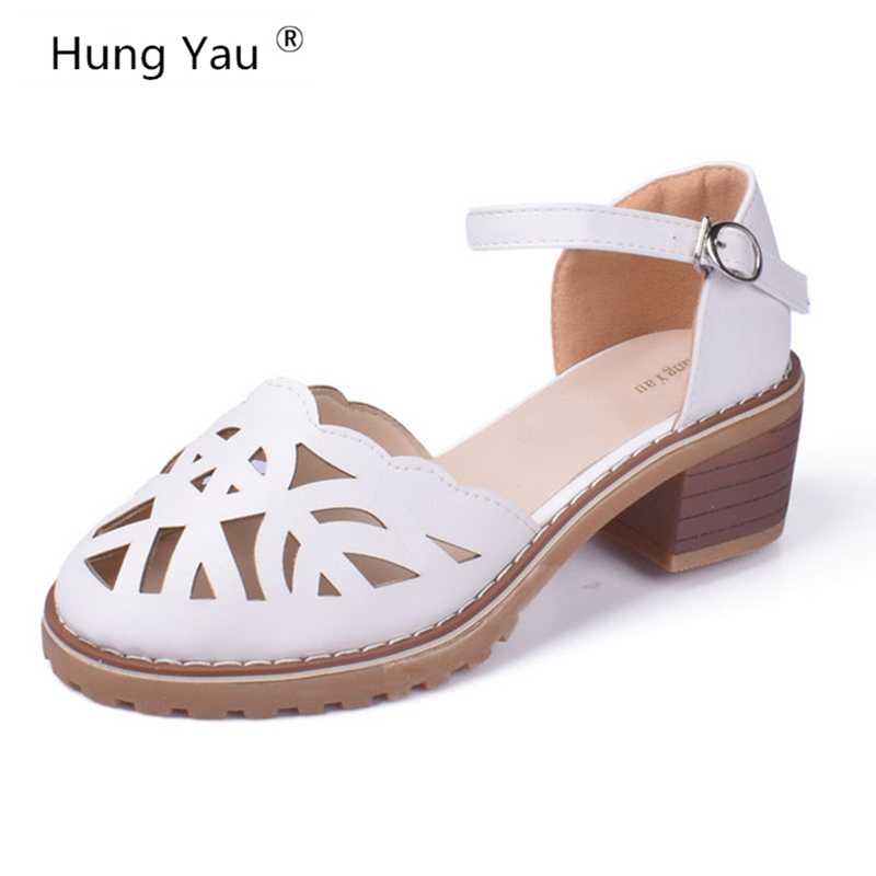 Hollow-Carved Women Sandals 2017 Summer Style Retro Platform White Sandals Comfortable High Hoof Thick Heels Shoes Plus Size 9 fashionable women s sandals with platform and hollow out design