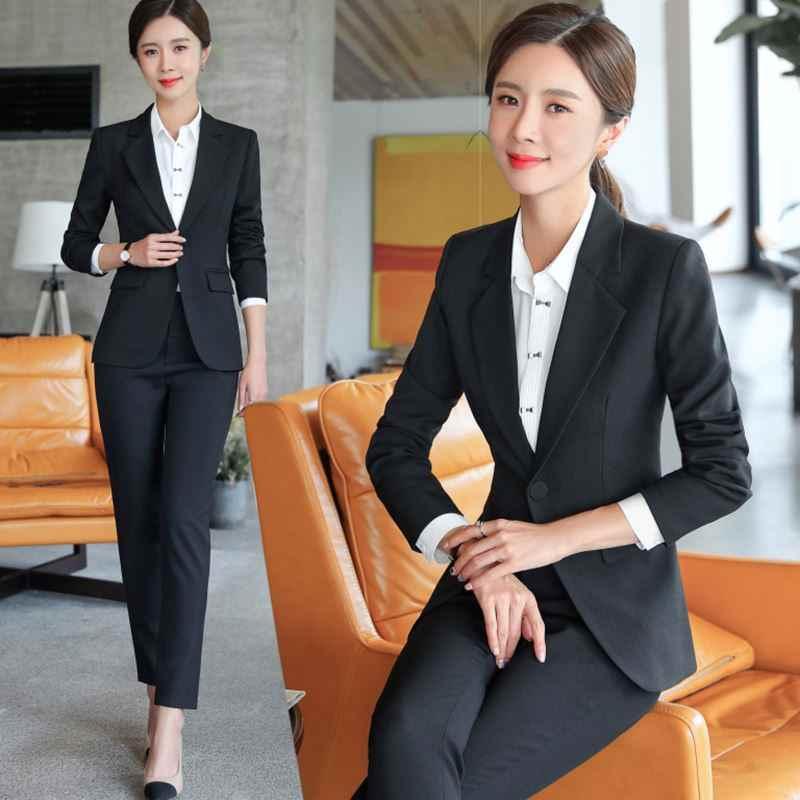 Elegant Office Lady Formele Pak Vrouwen Bedrijf Werken Broek Past Zwart Blazer Set Vrouwelijke 2 Stuks Jas Broek Trosuerrs 4XL XXXL