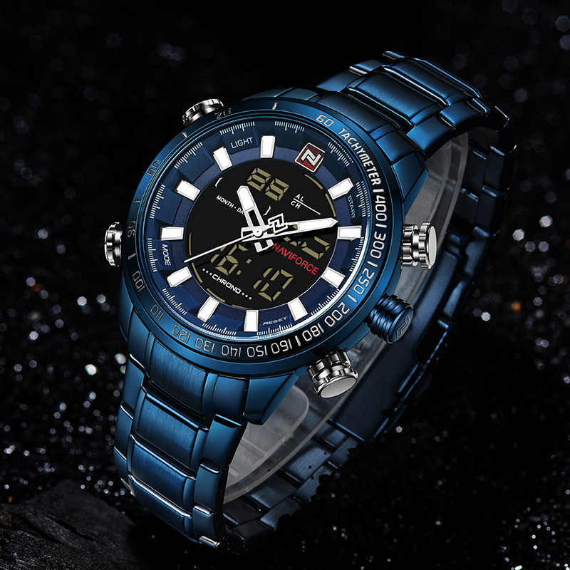 Naviforce 9093 relógio de pulso masculino de luxo relógio de esporte marca militar à prova dbacklight água el backlight digital relógios homem cronômetro