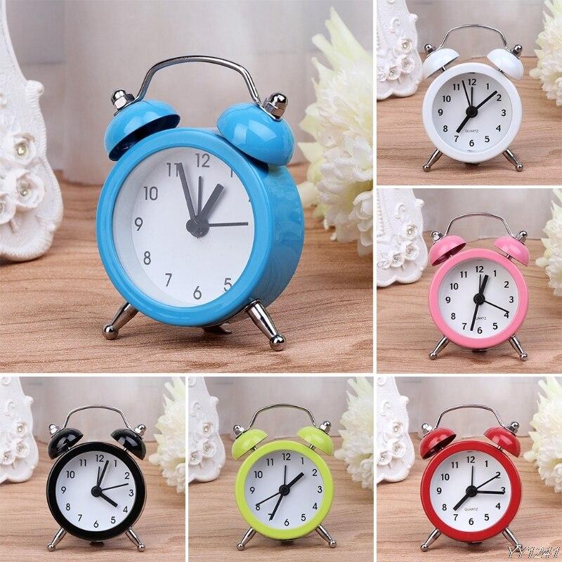 Portable Cute Mini Round Battery Alarm Clock Desktop Table Bedside Clocks Decor Y110-Dropshipping