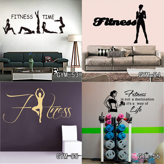New Vinyl Wall Sticker Removable Wall Decor Fitness Gym Workout ...