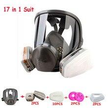 17 في 1 أصلي 3m 6800 أمان كامل الوجه تنفس قناع واقي من الغاز حماية الصناعة قناع مضاد للأتربة متوسط
