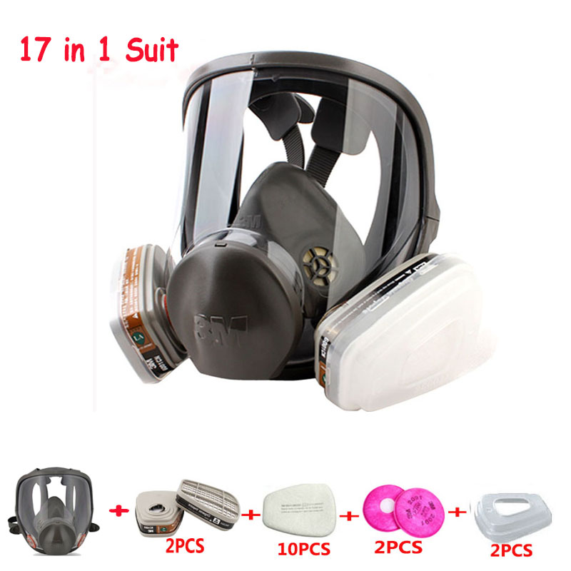17 In 1 Original 3M 6800 Safety Full Face Respirator Gas Mask Industry Protection Anti Dust Mask Medium full face mask men women outdoor motorcycle cycling sunscreen soft lycra head cover safety mask anti dust protection multi color
