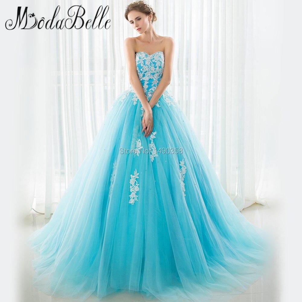 2017 Russia Stylish Aqua Blue Princess Long Puffy Prom Dresses Lace ...