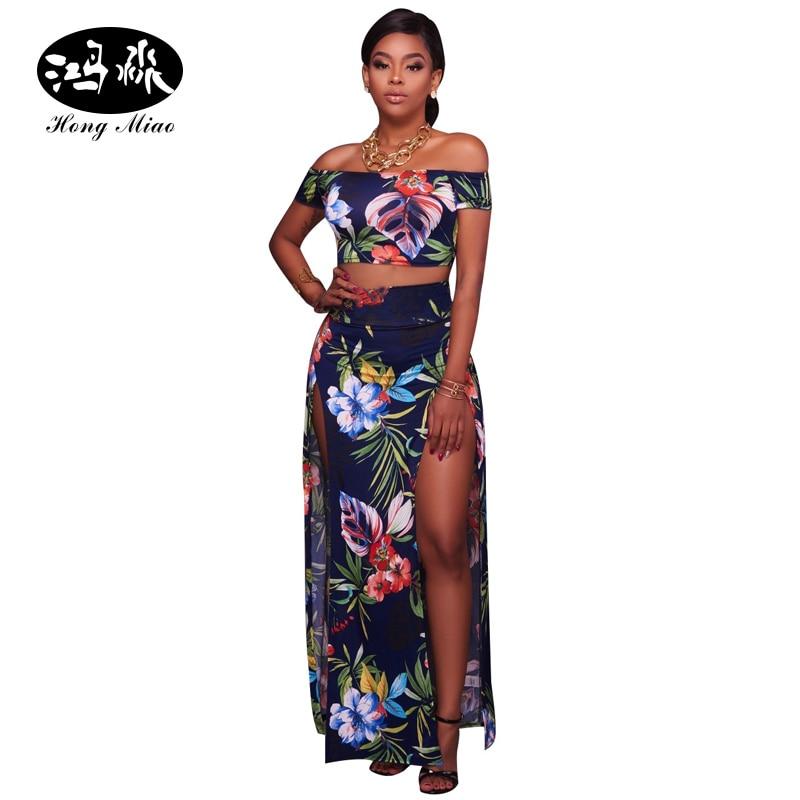 87a528a911f45 HongMiao Womens Two Piece Sets 2017 Summer Side Split 2 Piece Set Floral  Print Off Shoulder Crop Top and Skirt Set