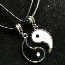 2pcs Leather Choker Necklaces For Women Tai Chi YIN YANG Gossip Pendant Necklace Friendship Couple Collier Bijoux Christmas Gift