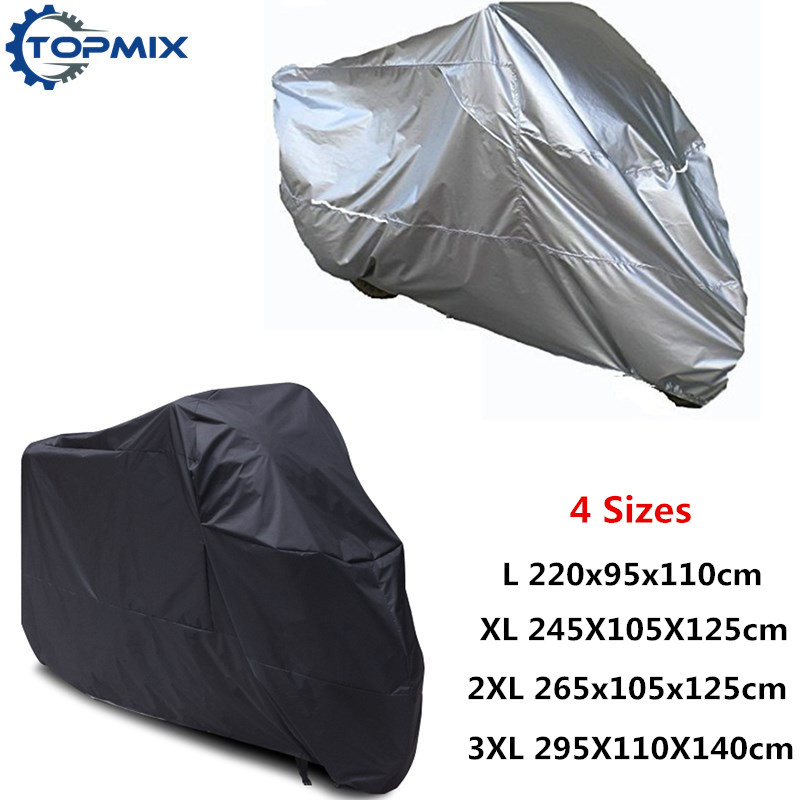 Universal Black Silver Waterproof Dustproof Outdoor UV Protector Motorcycle Motorbike Rain Cover for Honda Suzuki Harley