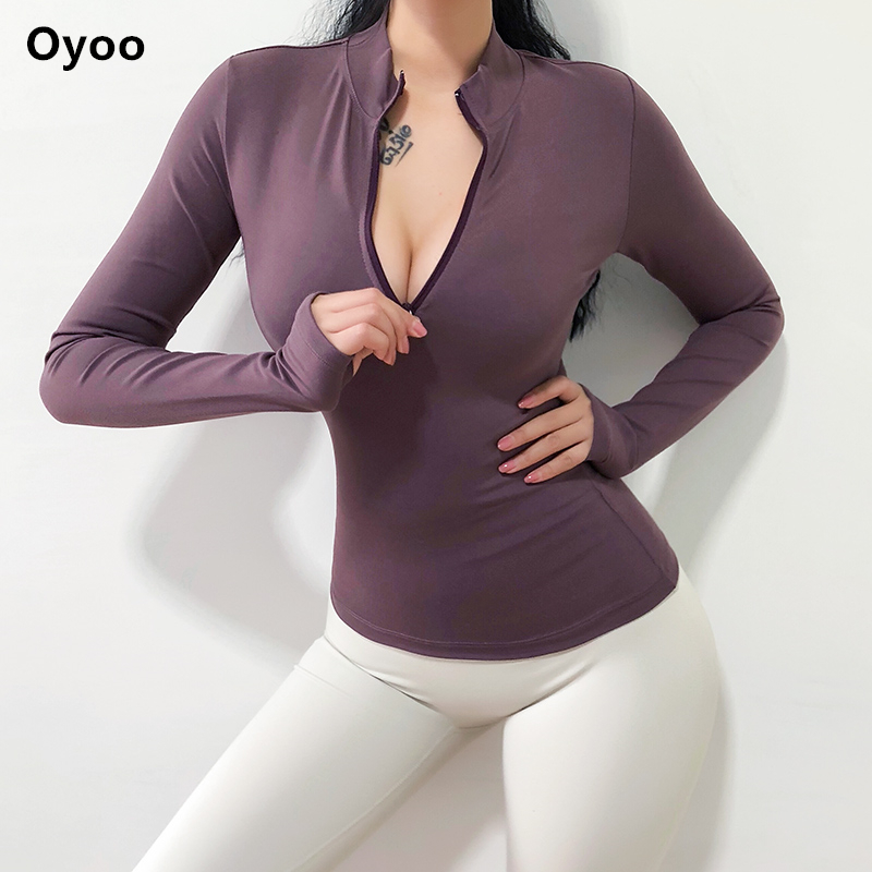 Oyoo Women's Army Green Workout Jersey Long Sleeve Pink Sport Top Winter Gym Sweater Half Zip Yoga Shirt With Thumb Hole