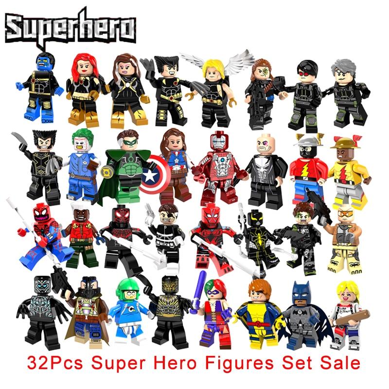 32Pcs/Set Super Heroes Building Blocks Set X-Men Quicksilver Cyclops The Ultimate Beast Reverse Flash X Force Spider Man Figures the flash volume 4 reverse