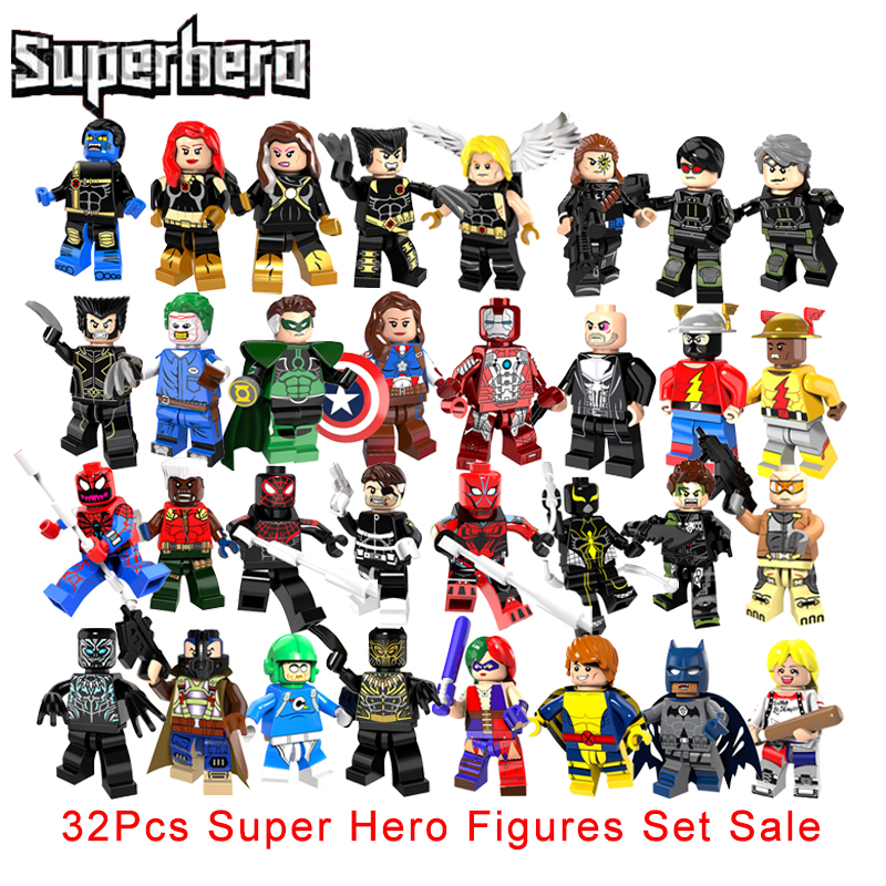 32Pcs/Set Super Heroes Building Blocks Set X-Men Quicksilver Cyclops The Ultimate Beast Reverse Flash X Force Spider Man Figures ...