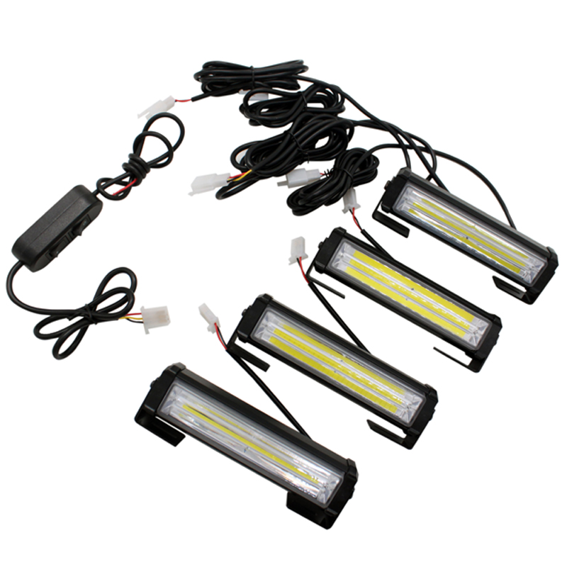 SUNKIA 4Pcs/Lot High Power Car COB Warning Light Car Styling External Emergency Strobe Light Flash White Lamp