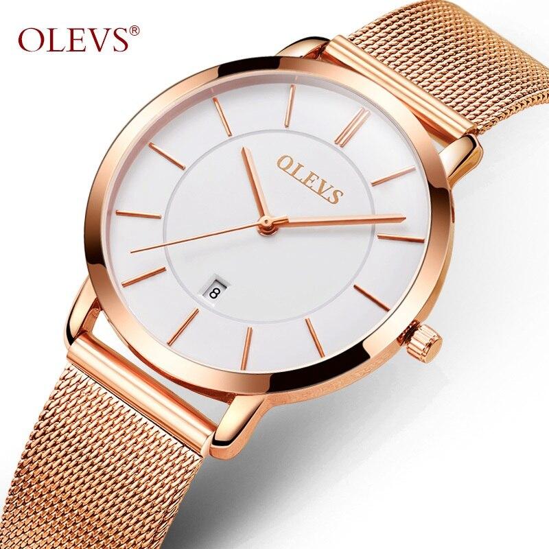 OLEVS Ultrathin Rose Gold font b Watch b font For Women Calendar Mesh Steel Strap Wristwatch