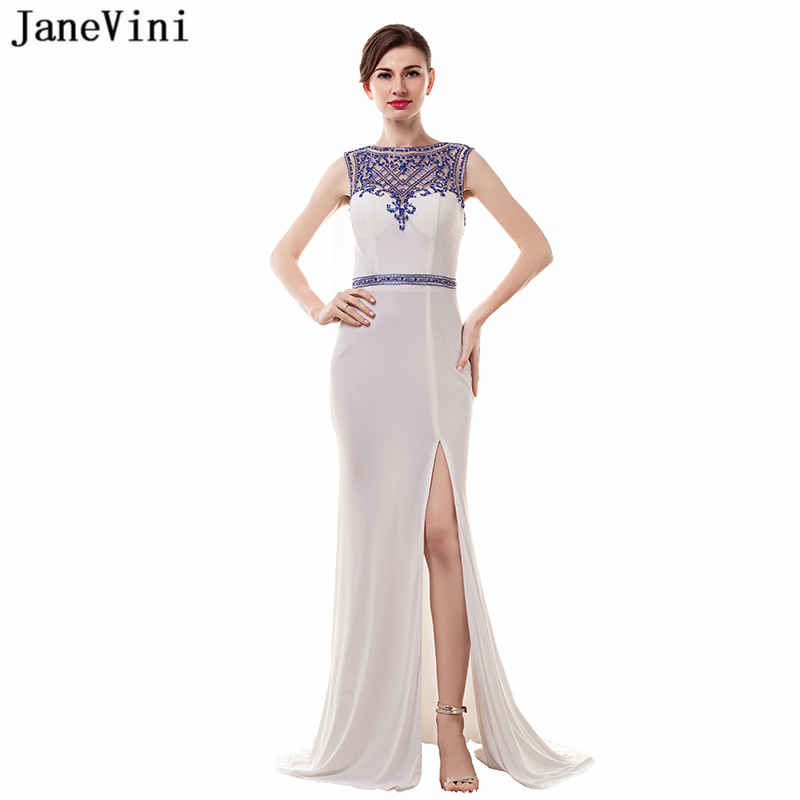 JaneVini Vintage Long Plus Size Bridesmaid Dresses Sweep Train 2018 Sexy High Split White Mermaid Formal Prom Gowns With Beaded