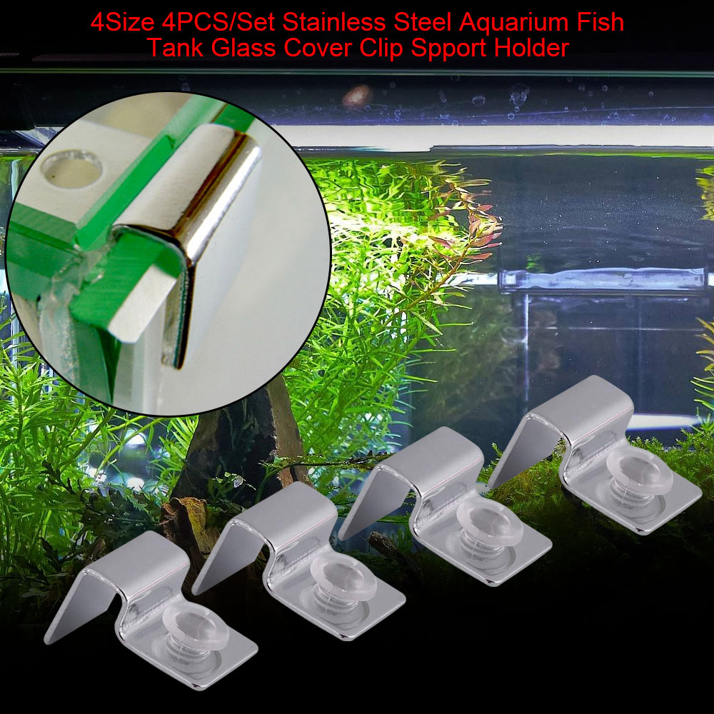 4pcs Stainless Steel Lid Clips Clamps Glass Cover Support Holders With 4pcs Silicone Pads For Aquarium Fish Tank