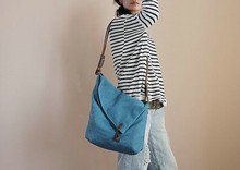 Free shipping blue one shoulder casual canvas women's cowhide handbag free shipping