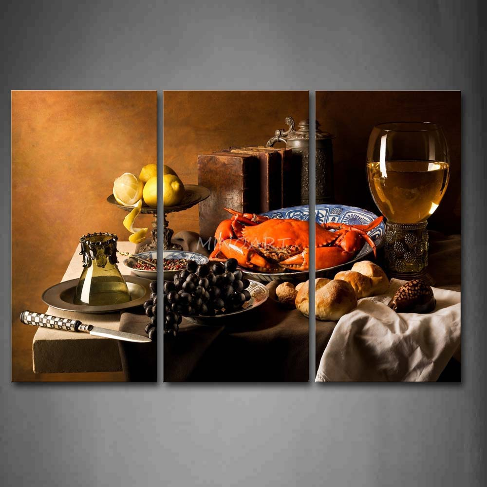 3 Piece Brown Wall Art Painting Various Food With Wine And font b Knife b font
