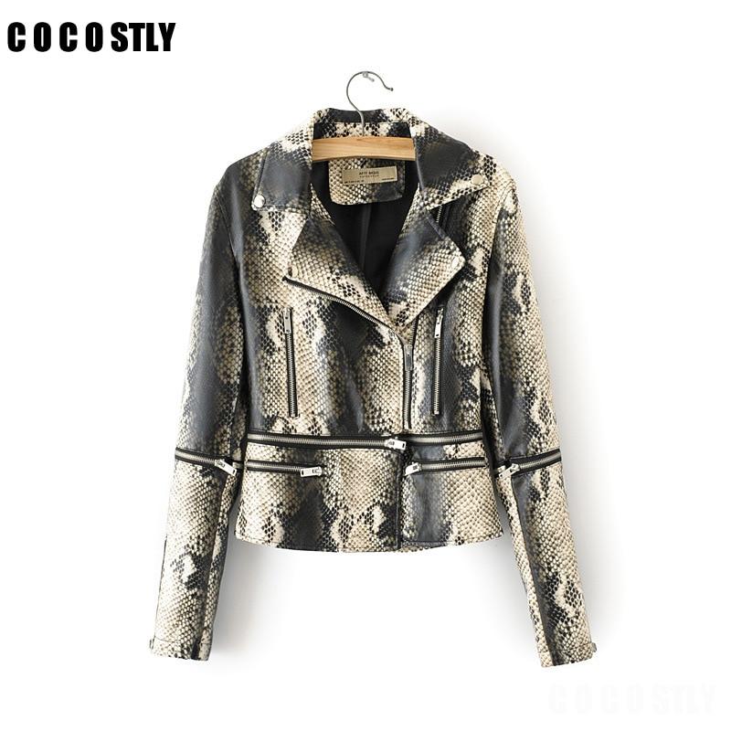 2019 New Elegant Autumn Winter Leather Jacket Women's Short Snake Print Leather Coat Ladies Slim Motorcycle Jaqueta Couro