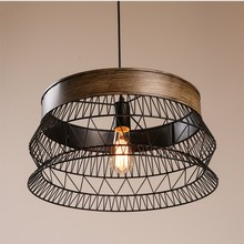 JW_Nordic Vintage jaula lámpara colgante luces LED lámparas redondas de hierro para comedor Bar almacén accesorios interior iluminación del hogar