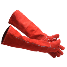 Free shipping quality cow leather lengthed welding gloves with reinforced palm and  heat and wear resistant safety protecting heat resistant finger glove latest reinforced one piece trend protecting gloves goods magic funny handmade